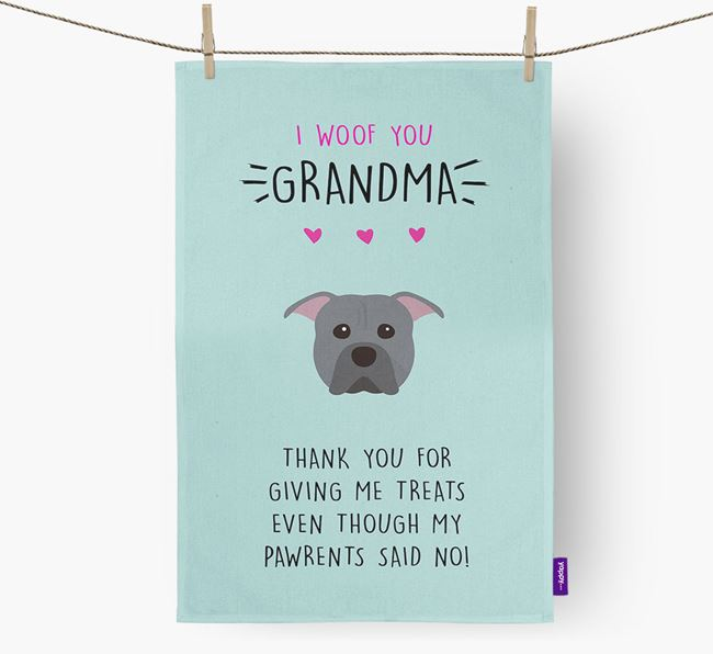 'Woof You Grandma' Dish Towel with American Pit Bull Terrier Icon