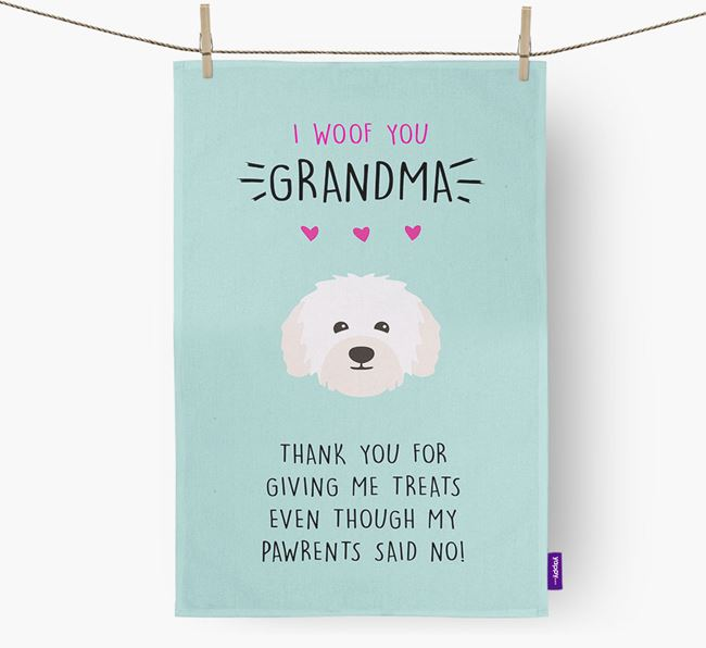 'Woof You Grandma' Dish Towel with Bolognese Icon