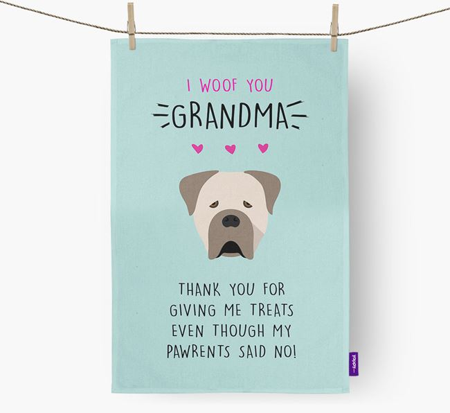 'Woof You Grandma' Dish Towel with Cane Corso Italiano Icon