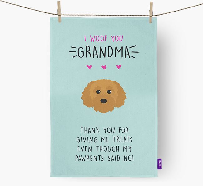 'Woof You Grandma' Dish Towel with Cavapoochon Icon