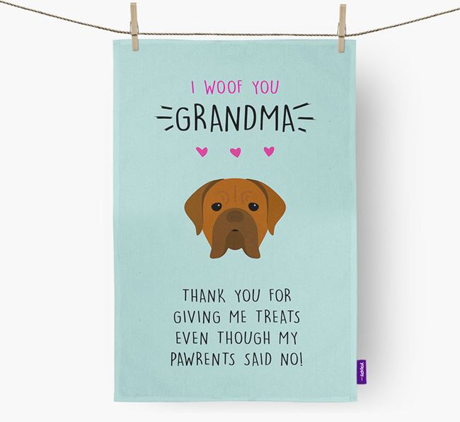 'Woof You Grandma' Dish Towel with Dogue de Bordeaux Icon