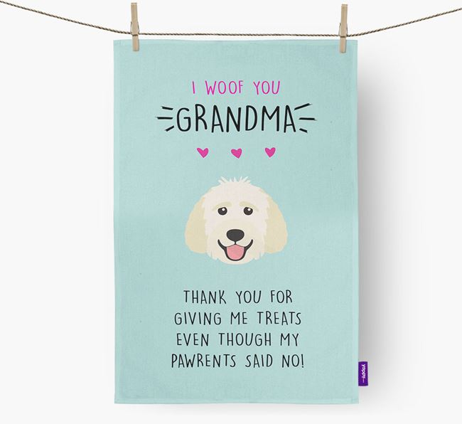 'Woof You Grandma' Dish Towel with Goldendoodle Icon