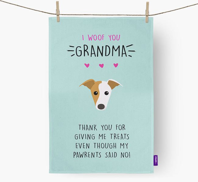 'Woof You Grandma' Dish Towel with Greyhound Icon
