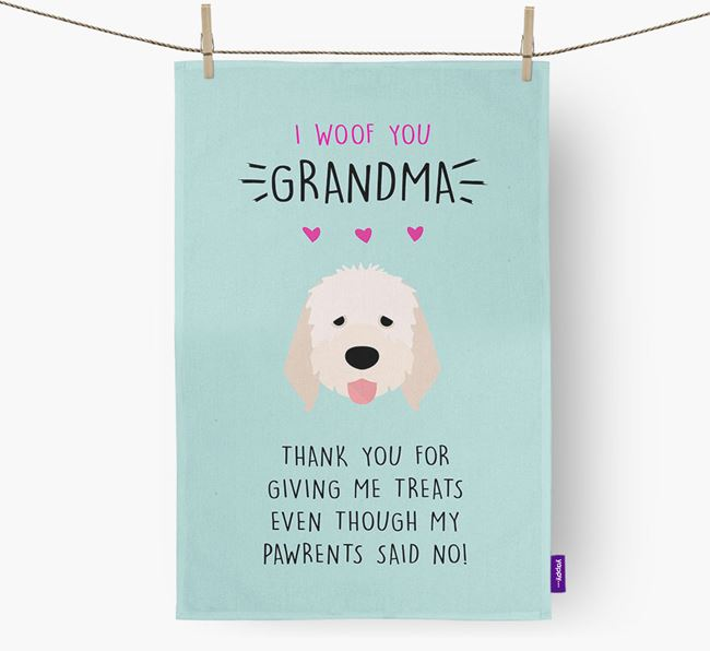 'Woof You Grandma' Dish Towel with Italian Spinone Icon