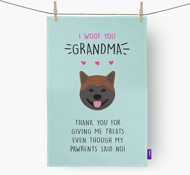 'Woof You Grandma' Dish Towel with Japanese Akita Icon