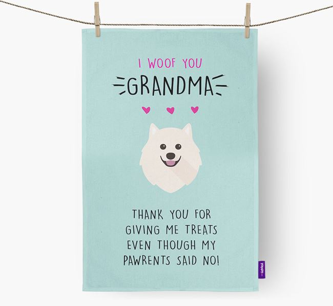 'Woof You Grandma' Dish Towel with Japanese Spitz Icon