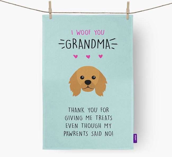 'Woof You Grandma' Dish Towel with King Charles Spaniel Icon