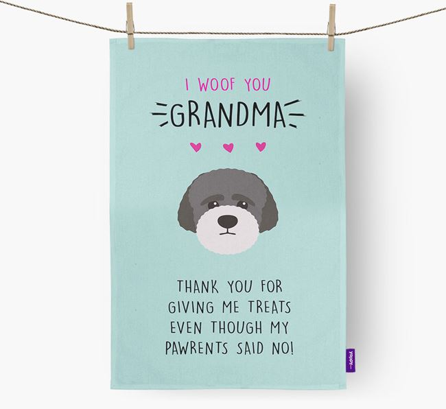 'Woof You Grandma' Dish Towel with Lagotto Romagnolo Icon