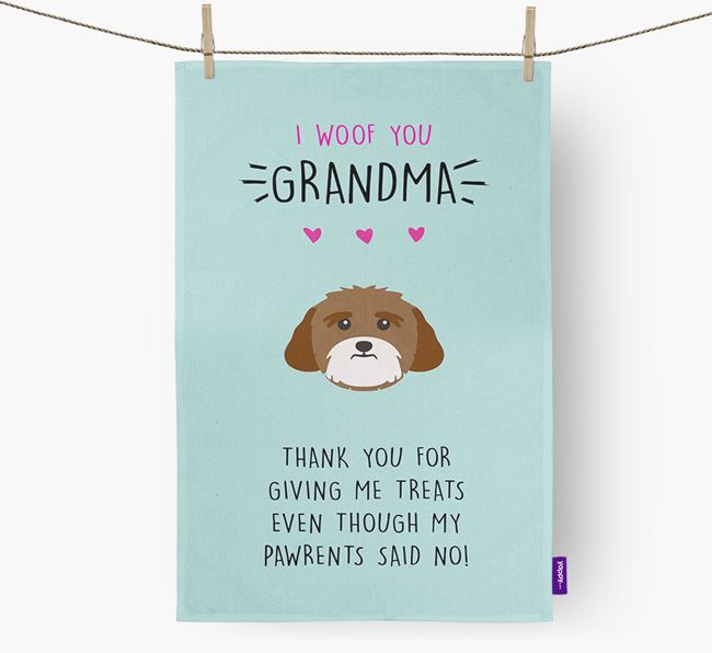 'Woof You Grandma' Dish Towel with Lhasa Apso Icon