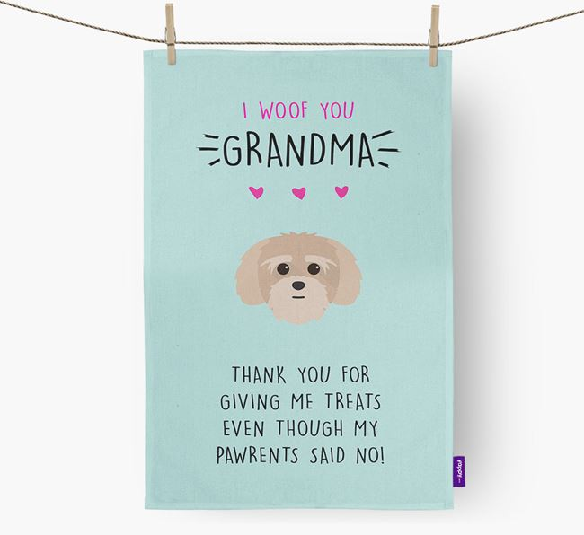 'Woof You Grandma' Dish Towel with Lhatese Icon