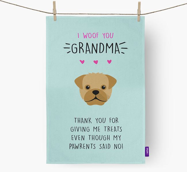 'Woof You Grandma' Dish Towel with Mixed Breed Icon