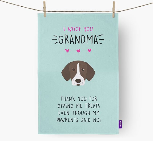 'Woof You Grandma' Dish Towel with Pointer Icon