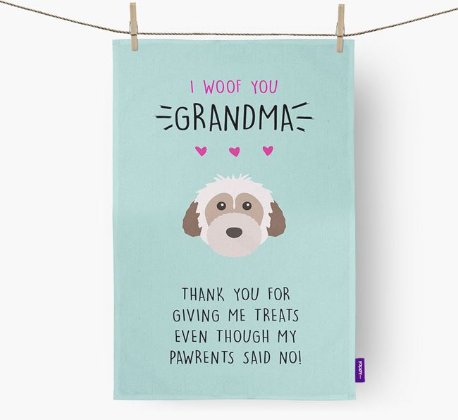 'Woof You Grandma' Dish Towel with Powderpuff Chinese Crested Icon