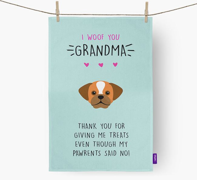 'Woof You Grandma' Dish Towel with Puggle Icon