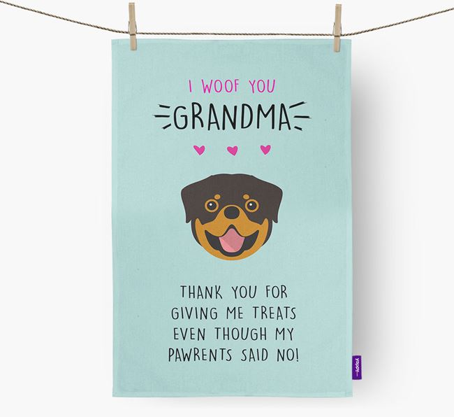 'Woof You Grandma' Dish Towel with Rottweiler Icon