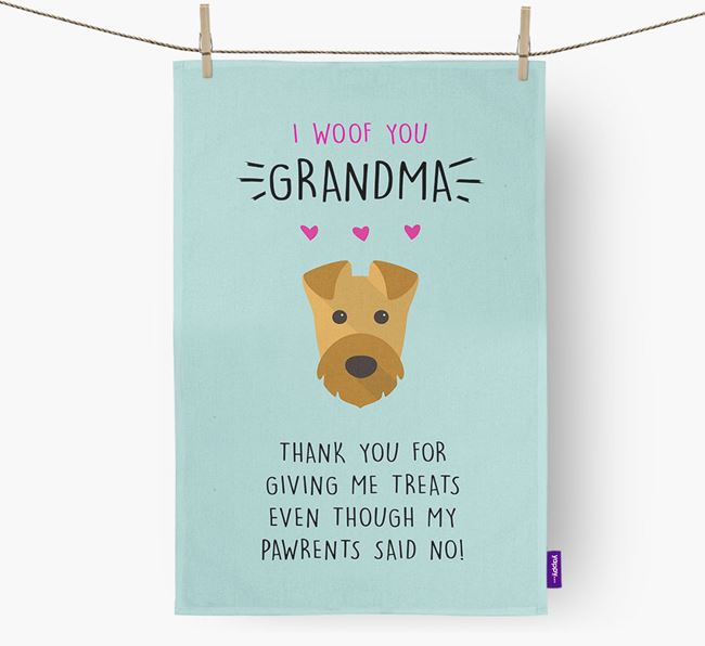 'Woof You Grandma' Dish Towel with Welsh Terrier Icon