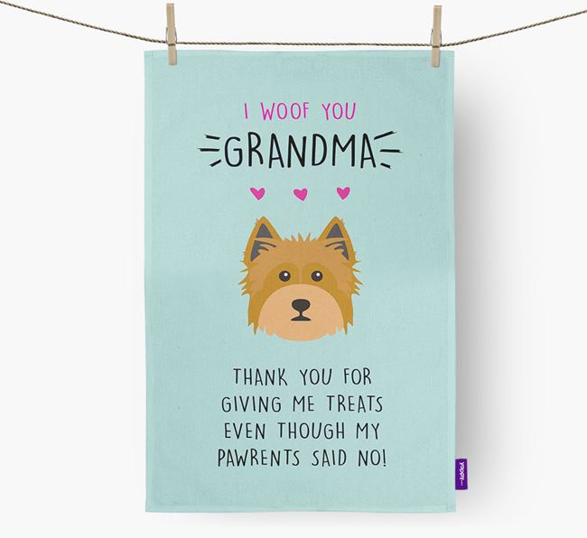 'Woof You Grandma' Dish Towel with Yorkshire Terrier Icon