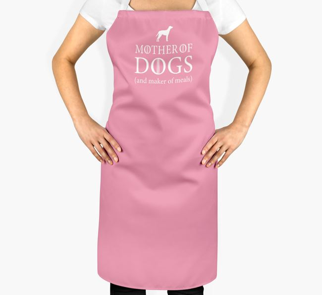'Mother of Dogs' Apron with Blue Lacy Silhouette