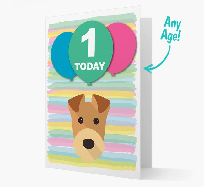 Ages 1-18 Birthday Card with Airedale Terrier Yappicon
