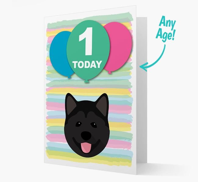 Ages 1-18 Birthday Card with Akita Yappicon