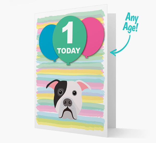Ages 1-18 Birthday Card with American Bulldog Yappicon