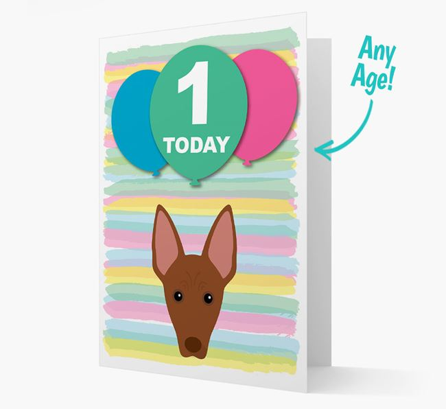 Ages 1-18 Birthday Card with American Hairless Terrier Yappicon