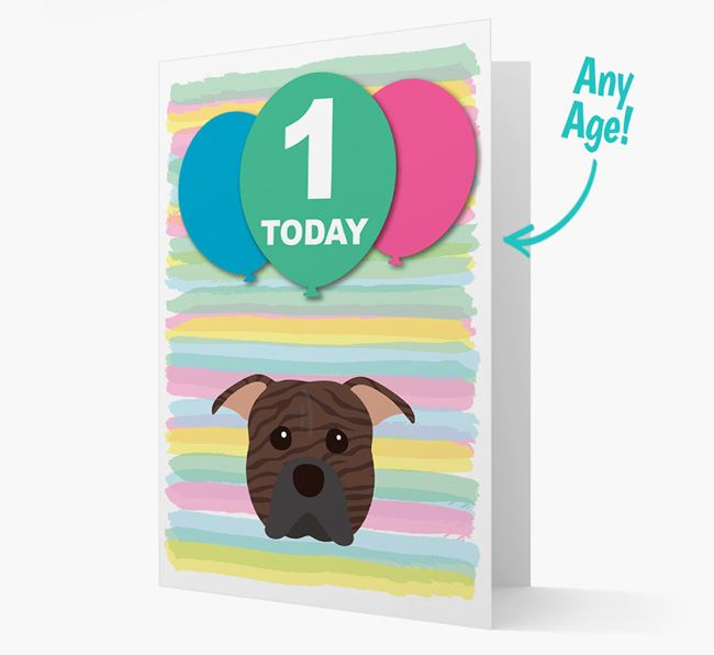 Ages 1-18 Birthday Card with American Pit Bull Terrier Yappicon