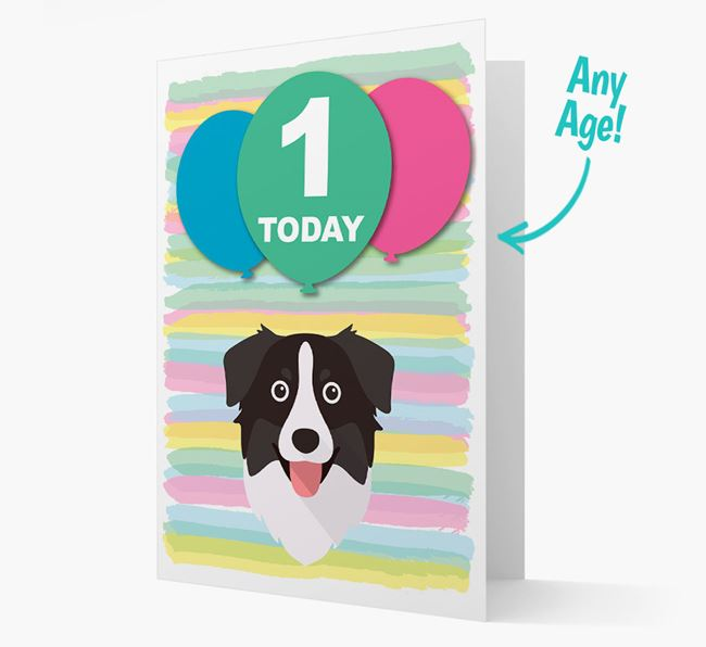 Ages 1-18 Birthday Card with Australian Shepherd Yappicon