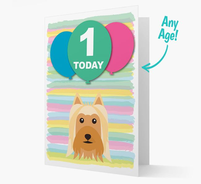 Ages 1-18 Birthday Card with Australian Silky Terrier Yappicon
