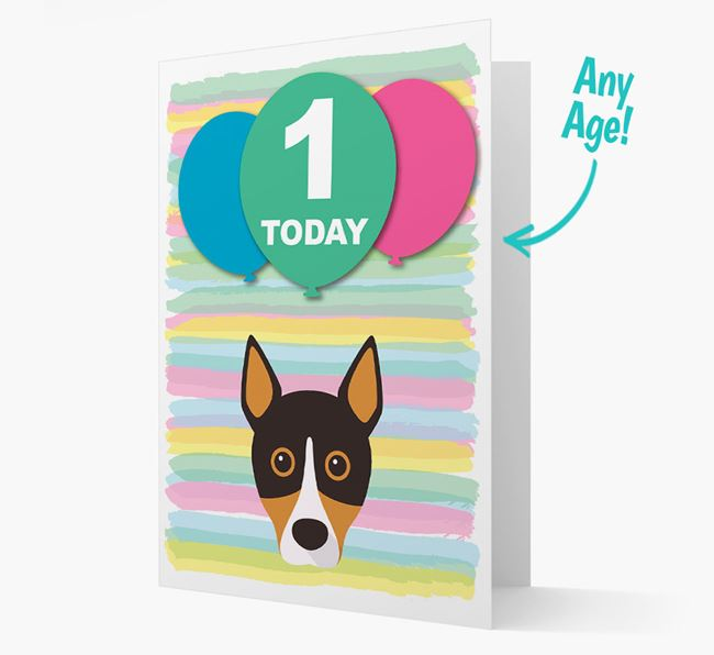 Ages 1-18 Birthday Card with Basenji Yappicon