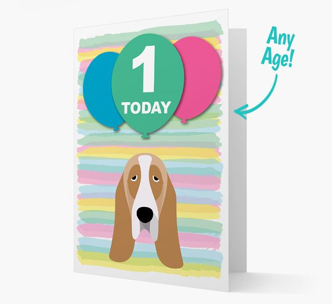 Ages 1-18 Birthday Card with Basset Hound Yappicon