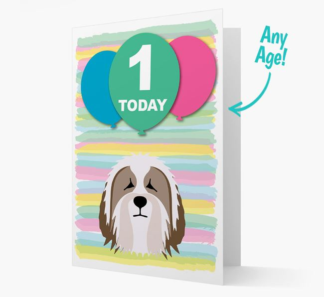 Ages 1-18 Birthday Card with Bearded Collie Yappicon