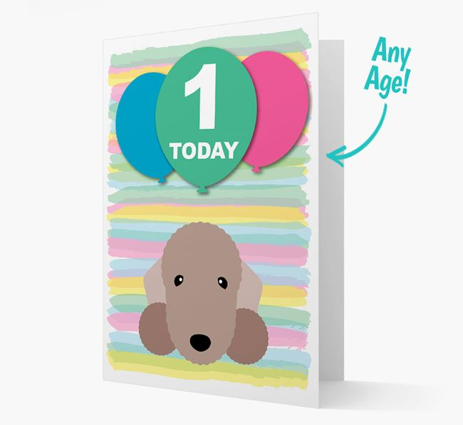Ages 1-18 Birthday Card with Bedlington Terrier Yappicon