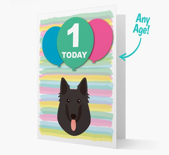 Ages 1-18 Birthday Card with Belgian Groenendael Yappicon