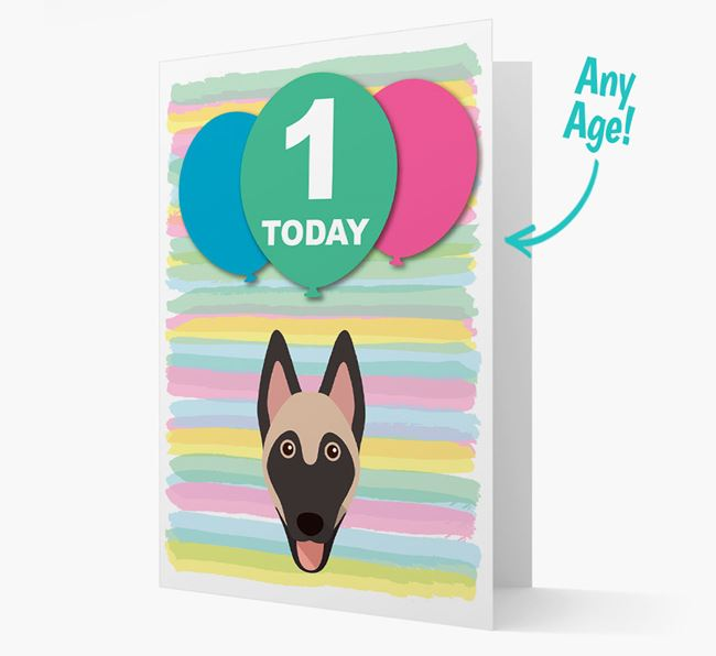 Ages 1-18 Birthday Card with Belgian Malinois Yappicon