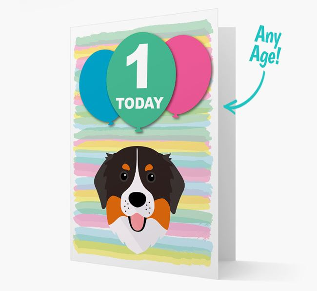Ages 1-18 Birthday Card with Bernese Mountain Dog Yappicon