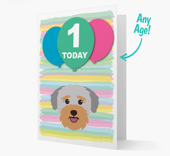 Ages 1-18 Birthday Card with Bichon Yorkie Yappicon