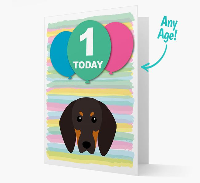 Ages 1-18 Birthday Card with Black and Tan Coonhound Yappicon