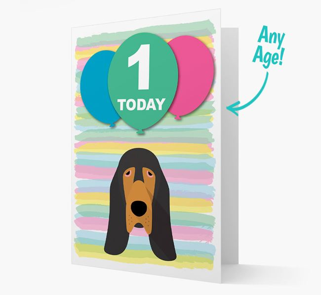Ages 1-18 Birthday Card with Bloodhound Yappicon