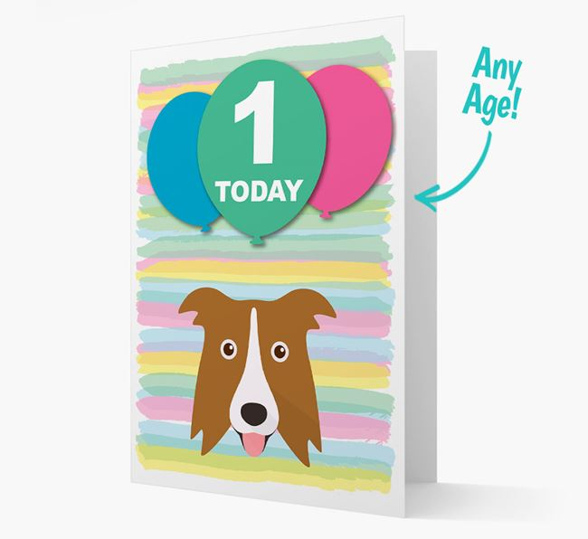 Ages 1-18 Birthday Card with Border Collie Yappicon