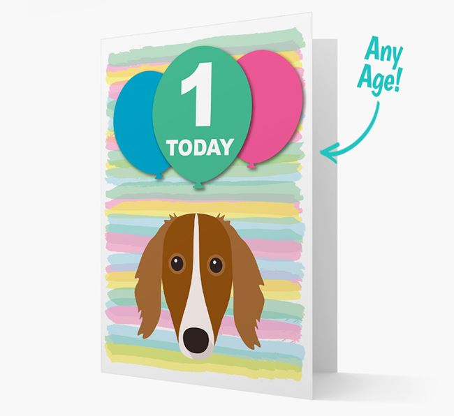 Ages 1-18 Birthday Card with Borzoi Yappicon