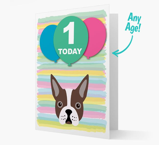 Ages 1-18 Birthday Card with Boston Terrier Yappicon