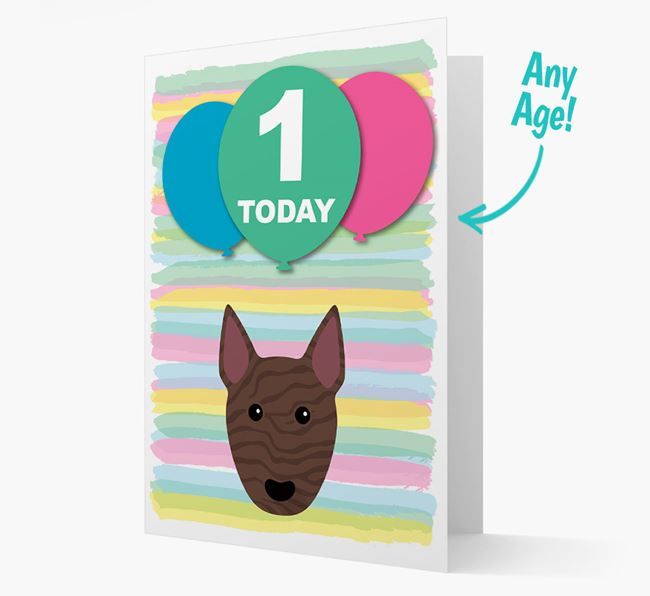 Ages 1-18 Birthday Card with Bull Terrier Yappicon