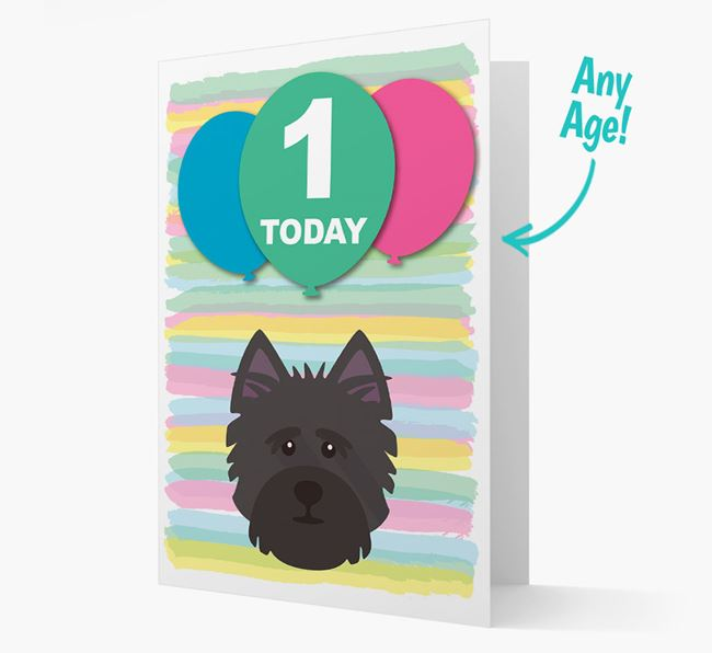 Ages 1-18 Birthday Card with Cairn Terrier Yappicon