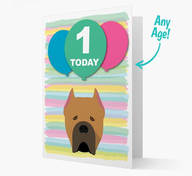 Ages 1-18 Birthday Card with Cane Corso Italiano Yappicon