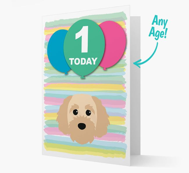 Ages 1-18 Birthday Card with Cavapoochon Yappicon