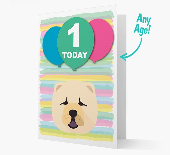 Ages 1-18 Birthday Card with Chow Chow Yappicon