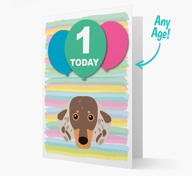 Ages 1-18 Birthday Card with Dachshund Yappicon
