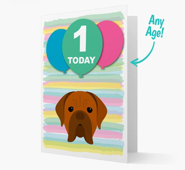 Ages 1-18 Birthday Card with Dogue de Bordeaux Yappicon
