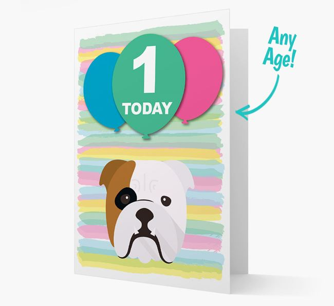 Ages 1-18 Birthday Card with English Bulldog Yappicon